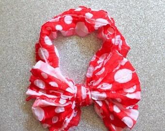 Red Dots Ruffle Messy Bow Headband