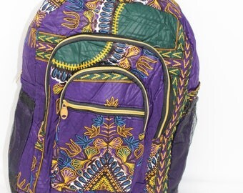 New Purple Dashiki Backpack with Bottle Holders