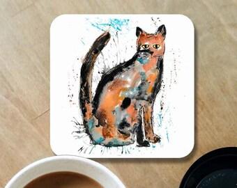 cat coaster, tabby cat coaster, wood coaster, personalised coaster, hand made coasters, kitchenware, cat decor, tabby cat