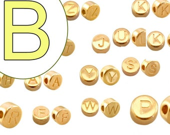 alphabet bead B 7mm gold plated #3736