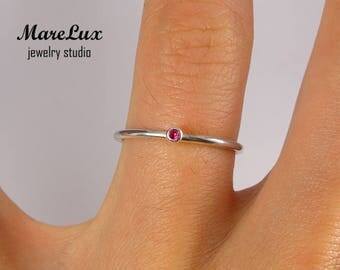 Synthetic Ruby Stacking Silver Ring, July Birthstone Rings 1.5 mm Round Cut Pink Ruby Ring Minimalistic Ruby Stackable Ring, Stacker Ring