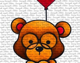 Teddy and Balloon Digital Stamp by Sasayaki Glitter