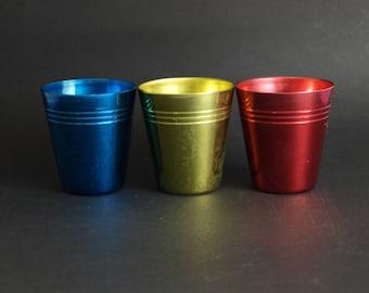 Vintage Anodised Aluminum Cups - Set of Three - Metal Caravan Drink Cups Primary Colours