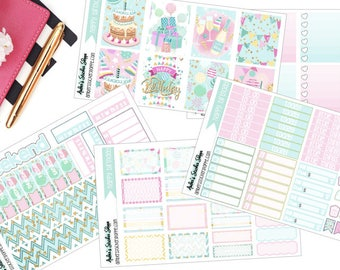 Happy Birthday Weekly Kit for ECLP Vertical Planner Stickers