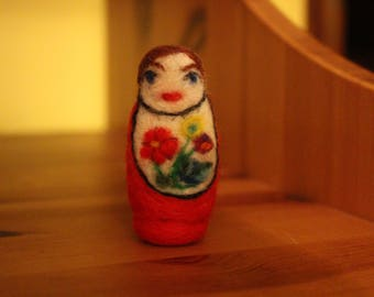 Traditional Red Felted Baboushka With Flowers