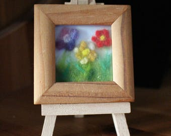 Miniature Fibre-Art Picture Of 3 Flowers With Easel