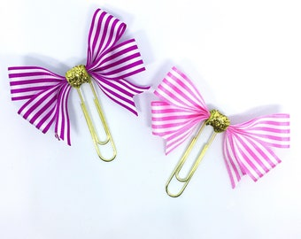 Bow Planner Clip and Bookmark Pink White with Gold Glitter decal Ribbon Page Marker Accessory Gift Fushia