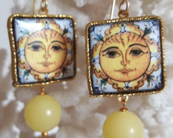 Earrings with yellow agate & Silver Ceramic Caltagirone