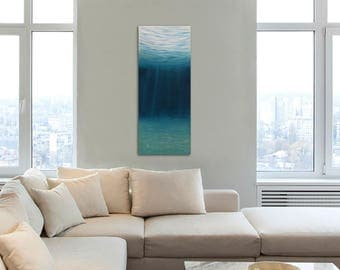 Underwater Art, Large Blue Sea Painting, Nautical Decor, Turquoise Original Oil Painting on Canvas, Ocean Art, Contemporary Painting