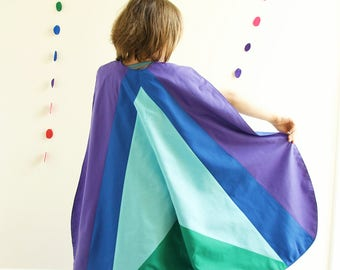 Colour block cape - Tundra - kids Dressing up, children's modern superhero cloak