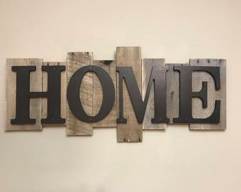 Rustic Wood Sign -HOME- FREE SHIPPING