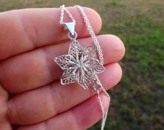 Vintage Sterling Silver 925 Filigree Flower Pendant Necklace, Charming Floral Design