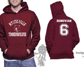 Donovan 6 Mystic Falls Timberwolves white print printed on Unisex Hoodie Maroon