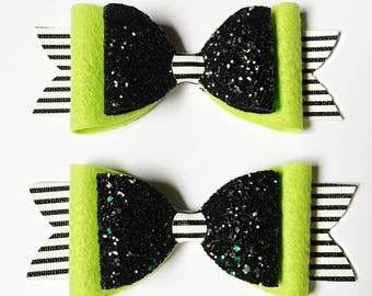 Wicked Witch Large Double French Bow - Halloween Bow - photo prop