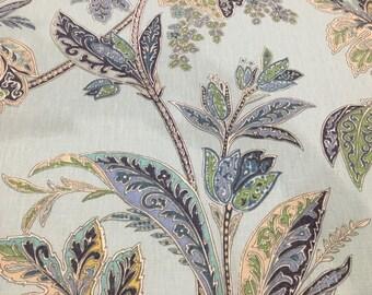 "26"" x 54"" Kravet Ishana Sapphire Green, Turquoise Spa 100% Linen Fabric"