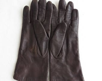 Vintage Leather Gloves - Brown - Women's Size 7 Ladies driving gloves