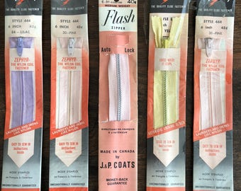 Lightning and Flash Zippers, 6 inch, Assorted Colours, Vintage