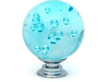 "Aqua Blue Bubble Crystal Glass 1.5"", 40mm Round Knob, Drawer Pull, Cabinet Pull, Dresser Drawer Pull - C17"