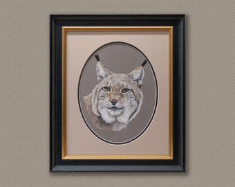 Original Pastel painting of a Lynx|Art Work|Free Shipping.