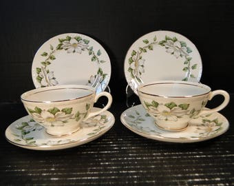 Homer Laughlin Eggshell Georgian Cotillion 2 Person Tea Set with Cups & Dessert Plates