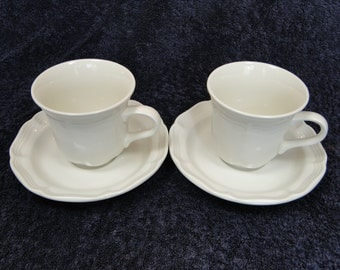 TWO Mikasa French Countryside Cups Tea Coffee Mugs Saucer Sets F9000 Set of 2 EXCELLENT!