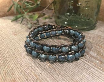 Moonstone Style Leather Double Wrap Bracelet with Ceramic Beads