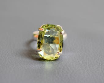 925 Leamon Quartz Solid Sterling Silver Ring - Quartz Ring - Christmas sale #6