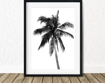 Palm Tree Wall Print, Palm Print, Palm Wall Art Prints, Palm Print Art, Tropical Prints, Palm Digital Print, Black White Palm Tree
