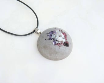 Necklace concrete - statement pendant - choice of color - XL hemisphere with glass - leather - gift -.