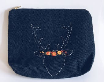 Deer Antler Bag, Antler Flower Crown, Rustic, Deer zipper bag, Flower crown zip bag, Deer, Deer Antler, Zipper Pouch, Antlers, Cosmetic Bag