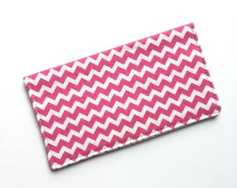 Checkbook cover, checkbook holder, wallet, receipt holder, pink and white chevron