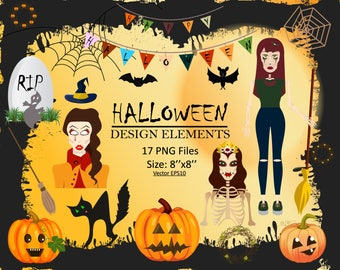Halloween Clipart Autumn clipart Witch clipart Halloween pumpkin Blog clipart Halloween silhouette Vampire girl Horrors clipart Holidays