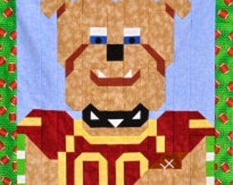 Football Bulldog Mascot Quilt Pattern with multiple sizes Wall to Lap