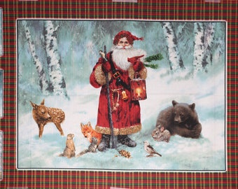 Christmas, old fashion Santa Claus fabric panel with forest animals.