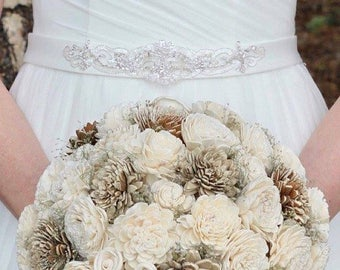 Wedding Bouquet, Bridal Bouquet, Rustic Bouquet, Woodland Sola Flower Bouquet, Handmade Bridal Bouquet, Romantic weddings, Keepsake Bouquet
