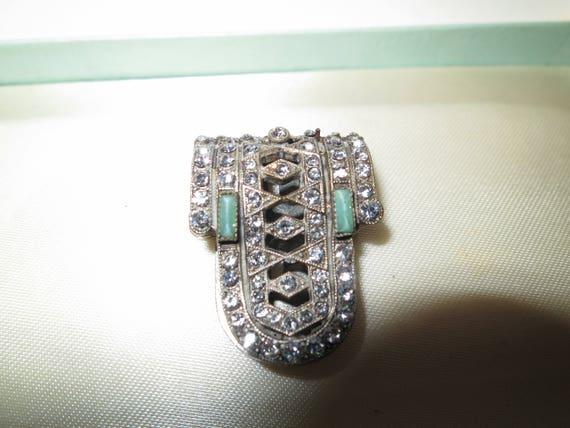 Beautiful vintage Deco silver metal aqua  rhinestone dress clip or brooch
