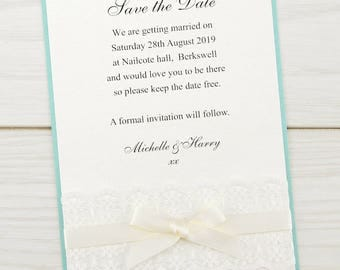 SAMPLE * Embroidered Lace Save the Date Cards