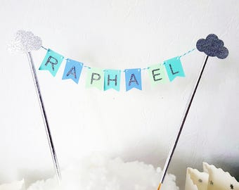 Decoration - Garland name for cake - blue-green and silver - glitter silver clouds