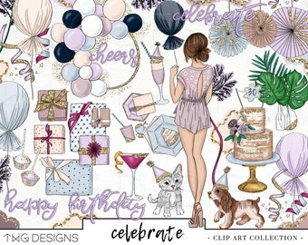 Fashion Girl Clip Art Watercolor Clipart PNG Birthday Celebration Party Balloons Glitter Hand Drawn Illustration Planner Sticker Graphics