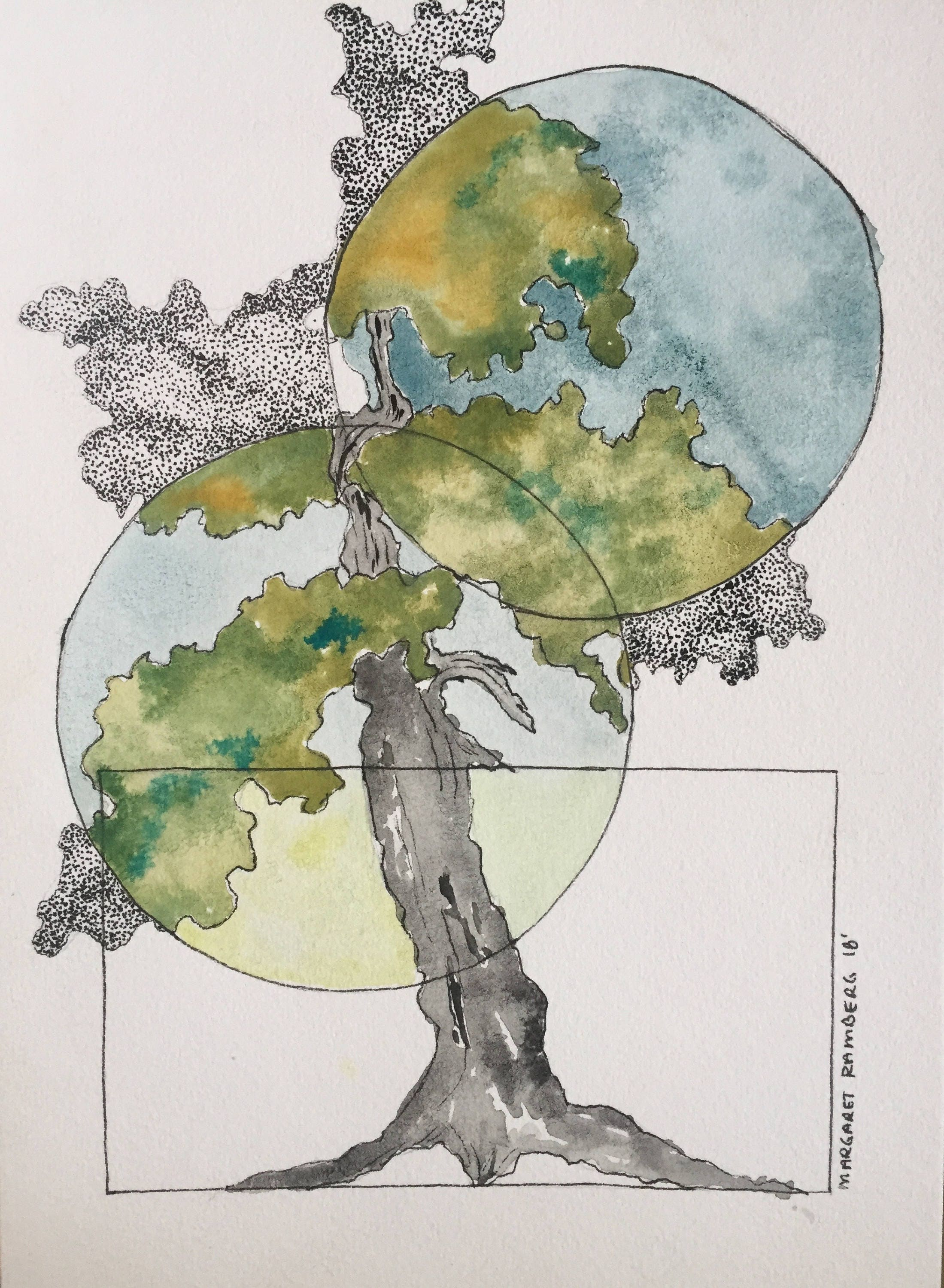 Watercolor & Ink Bonsai Tree