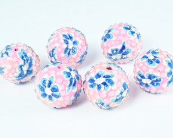 22mm  Pink Flower Textured Resin Wooden Round Beads, Wooden beads, Wholesale Bead, Basketball Wives Bead,Rhinestone Beads,Resin beads