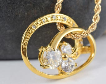 24x32mm 18KT Gold Filled CubicZirconiaCircle Pendant Elegant Design Infinity Round Cubic Zirconia Crystal, Gold Filled Pendant,Jewelry Charm