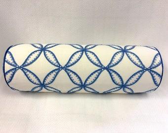 Duralee White and Blue Bolster Pillow Cover, Eurosham or Lumbar Pillow Accent Pillow, Throw Pillow