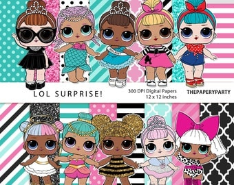 Lol Surprise! 16 Inspired Digital Papers Commercial Use OK DIY