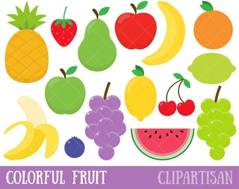 Fruit Clipart / Strawberry Clipart / Watermelon Clipart / Pineapple Clipart