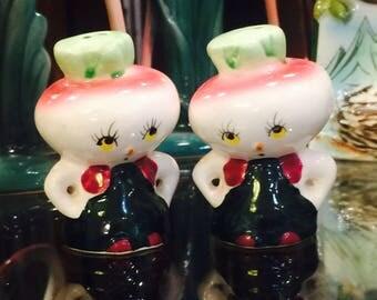 Anthropomorphic Turnip Veggie Men Farmers Salt and Pepper Shakers made in Japan circa 1950s