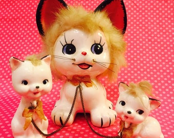 Napco Anthropomorphic Cat and 2 Kittens with Fur Set of Figurines with Fluffy Tufts and Tails made in Japan circa 1950s