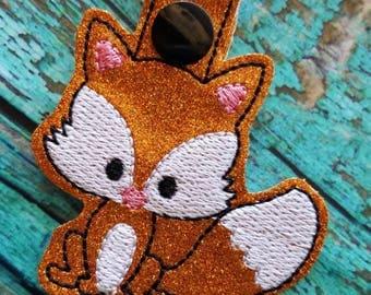 Sparkly Orange Fox Keychain