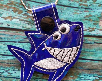 Shiny blue shark Keychain