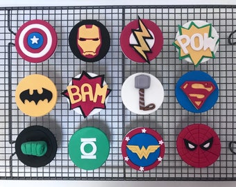 12x Edible Superhero cake toppers